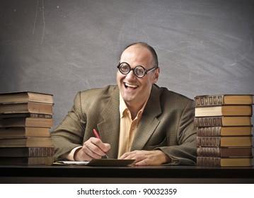 Smiling teacher in a classroom