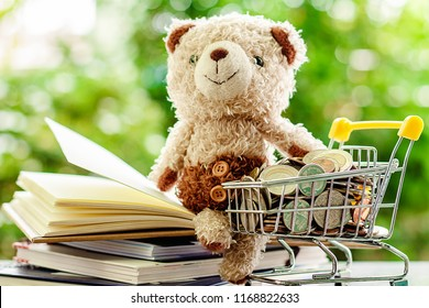 Smiling teddy bear doll sitting on stack of opened book with full of money coin in mini shopping cart or trolley against blurred natural green background for save money and education financial concept