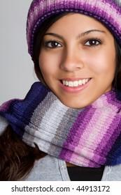 Smiling Teen Winter Girl