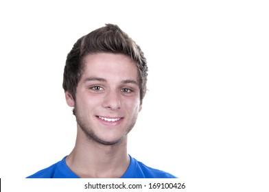 smiling teenage boy on white background