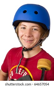 Smiling Teenage Boy with Safety Helmet Holding a Skateboard