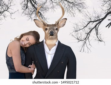 smiling teenage girl and big buck wearing a tuxedo on tree branch background