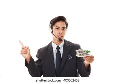 Smiling telephone operator