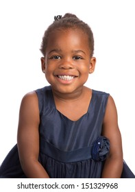 Smiling Three Years Old Adorable African American Girl Head and Shoulders Portrait on White Background