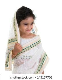 Smiling Toddler Draped in a Saree