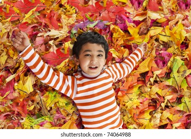 Smiling Toddler Lying on a Bed of Colorful Autumn Leaves