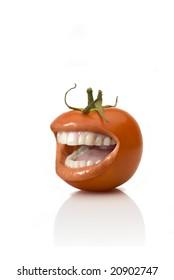 SMILING tomato OVER WHITE BACKGROUND