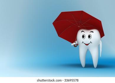 Smiling tooth under red umbrella