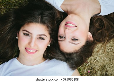 Smiling twins girl