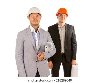 Smiling Two Young Male Engineers in Gray and Black Attire Looking at Camera. Isolated on White Background.