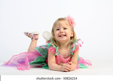Smiling and very cute fairy ballerina girl