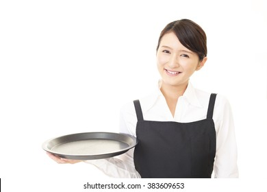 A smiling waitress