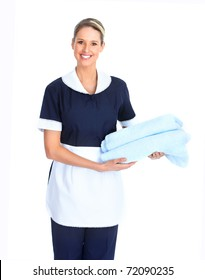 Smiling waitress woman. Isolated over white background