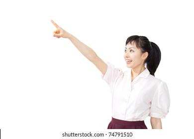 Smiling waitress woman. Isolated over white background
