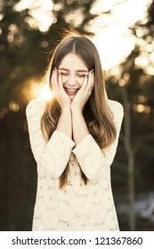 Smiling Winter Girl in the park