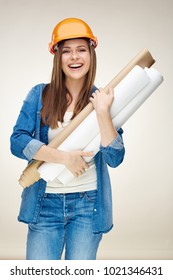 Smiling woman architect holding paper blueprints. Isolated portrait on white background.