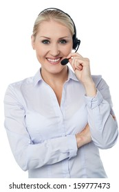Smiling woman assisting business client
