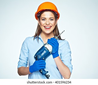 Smiling woman builder worker with drill isolated portrait on white.