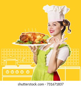 Smiling woman chef holding roasted chicken.Kitchen collage for text