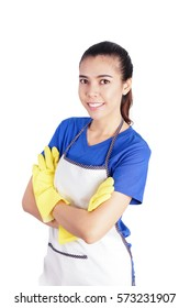 Smiling Woman Cleaning with A Yellow Gloves Cross One's Arm on White Background, Cleaning Concept