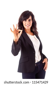 Smiling woman doing the OK sign