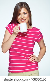 Smiling woman drink tea. Isolated white background female portrait.