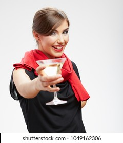 Smiling woman drinking alcohol cocktail. Isolated portrait of celebrating girl.