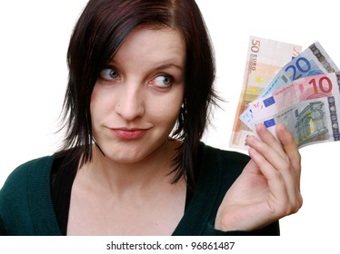 smiling woman with euro bills