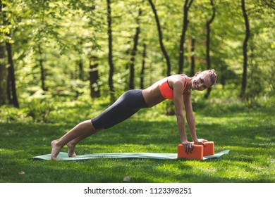 Smiling woman is exercising in open air in green environment. She is putting hands on yoga blocks and staying in static pose for abs training. Fitness outdoors concept