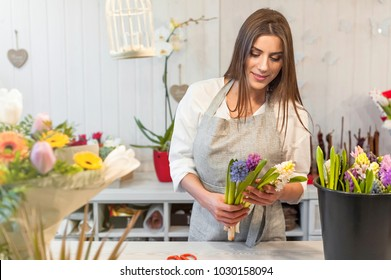 Smiling woman florist small business flower shop owner, at counter holding a  hyacinths, making arrangements.