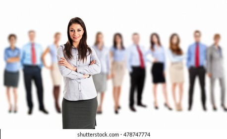 Smiling woman in front of a group of people