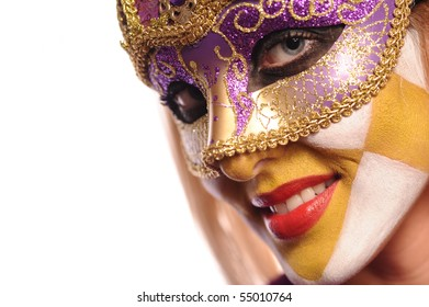 smiling woman in the half mask from Venice. isolated on white.