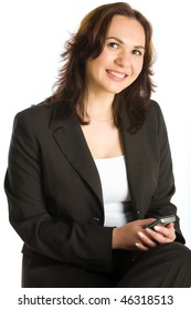 Smiling woman hold mobile phone isolated on white