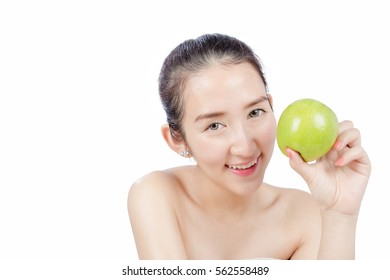 Smiling Woman holding An Apple, Happy Healthy Concept white background isolate