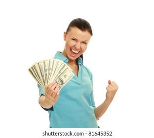 A smiling woman holding dollars enjoying success, isolated on white background