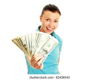 A smiling woman holding dollars, isolated on white background