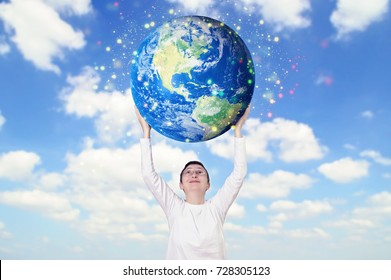 Smiling woman holding Earth planet. Elements of this image are furnished by NASA.