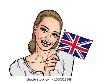 Smiling woman holding the flag of United Kingdom isolated on a white background. Great Britain banner. Cartoon girl in comic style.