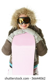 Smiling woman in hood with snowboard against white background