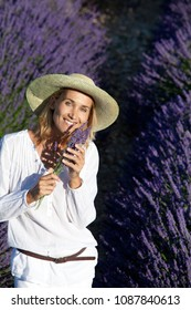 smiling woman in a lavender fields