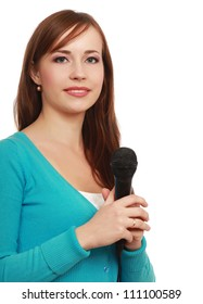 Smiling woman with microphone isolated on white background