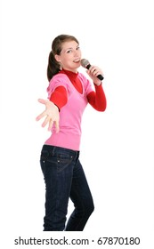 Smiling woman with a microphone on white
