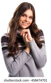 Smiling woman on blank background. Young lady in printed sweater. Romance and joy. Have a good time.