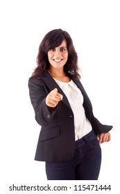 Smiling woman pointing for something front