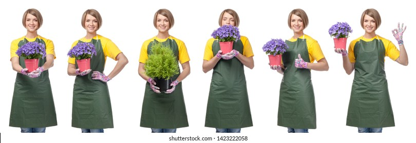 smiling woman professional gardener or florist isolated on white studio background. gardening service and business concept. collage