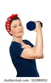 Smiling woman with red kerchief and blue t-shirt lifting a weight, isolated in front of white background, tribute to american worker icon Rosie the Riveter, advertising sports gym