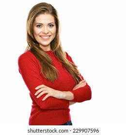 smiling woman in red posing against white background. studio isolated. long hair.