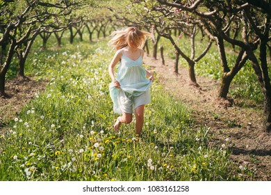Smiling woman running among flowers . Peace and harmony