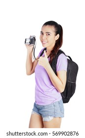 Smiling Woman with Thumb Up, Travel Concept on White Background, happy traveller