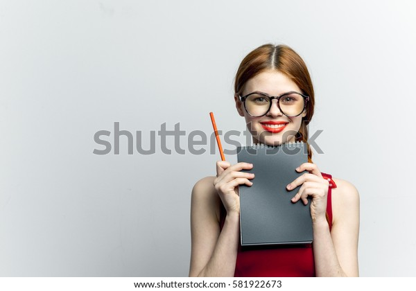 Smiling woman trainee, the first working day light background